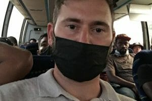 Ben Wein aboard the bus with migrants after his arrest in Chiapas.