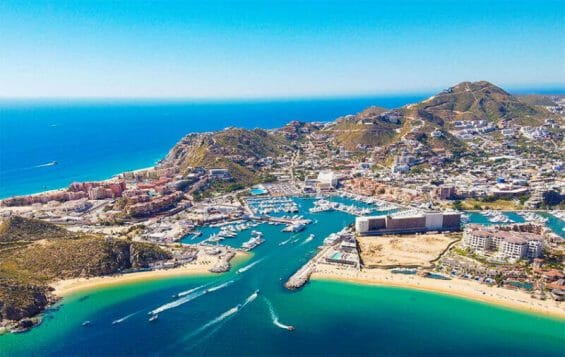 An aerial view of Cabo San Lucas.