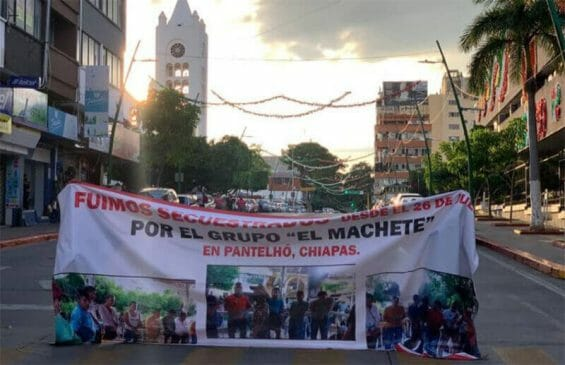 Family members of the kidnapped men protest outside the government palace in the Chiapas state capital in September.