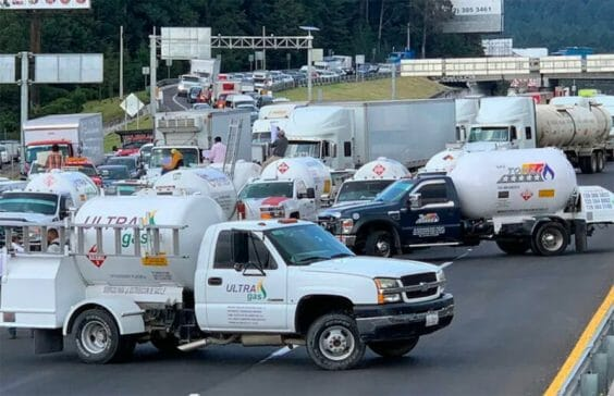 A gas trucks blockade in the capital on Monday.
