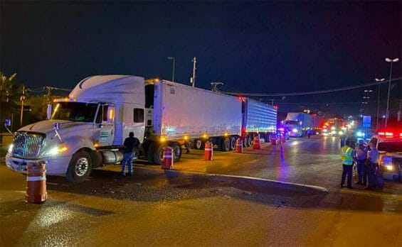 The semi-trailers in which the migrants were traveling