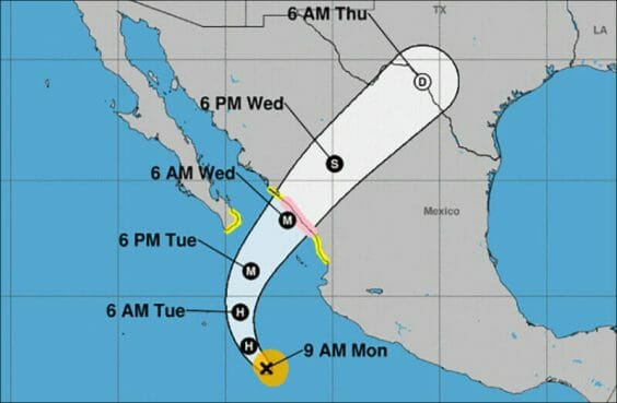 The storm's forecast track as of Monday morning